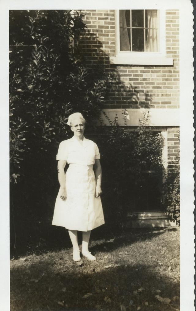 """Olive West Stott (""""Big"""") by old Greenwood Leflore Hospital"""