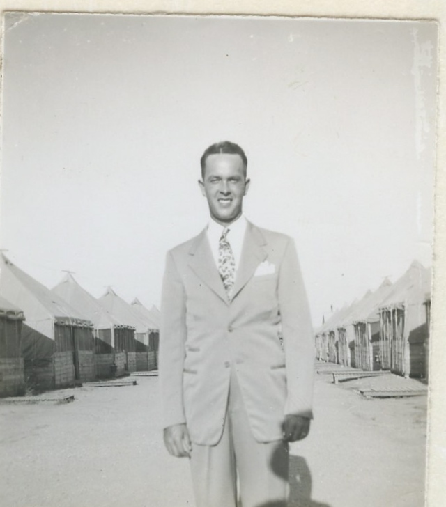 Russell at one of WWII training camps before deployment to Africa and Europe