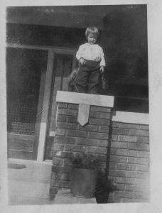 Sara on the bungalow porch, circa 1924. Probably being held by her grandmother, Bama.