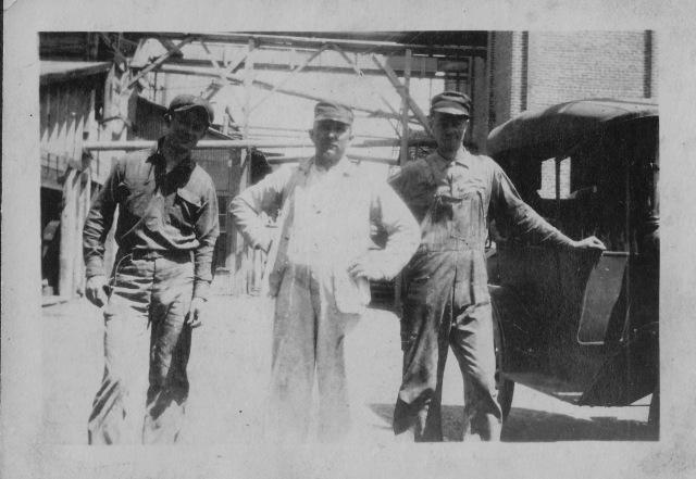Three of Howard's men at the Buckeye, circa 1920. Names unknown.